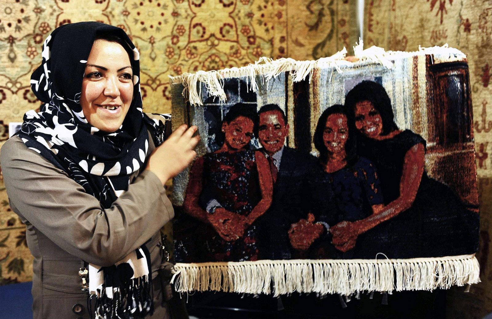 ковер с изображением президента США Барака Обамы и его семьи