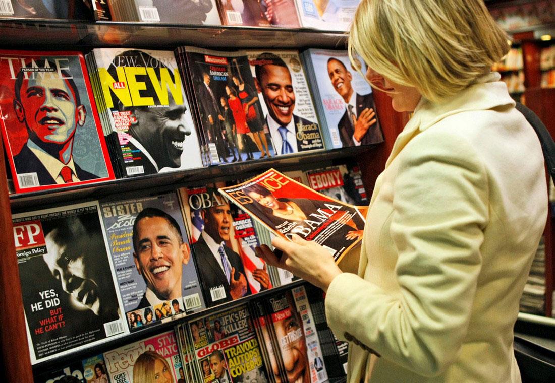 журналы с изображением президента и его жены, фото США