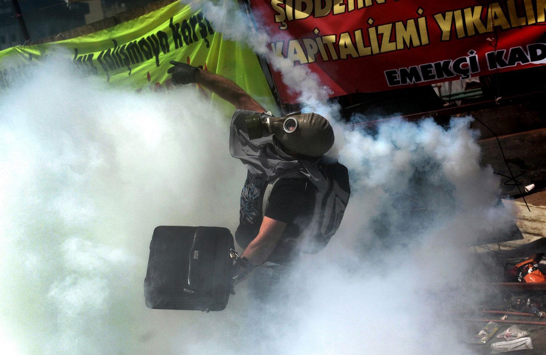 человек с балончиком газа