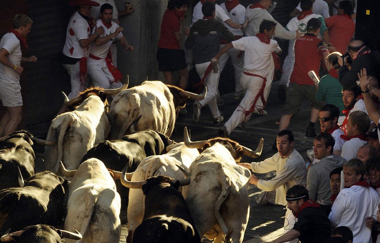 испанские бегуны преследуют боевых быков