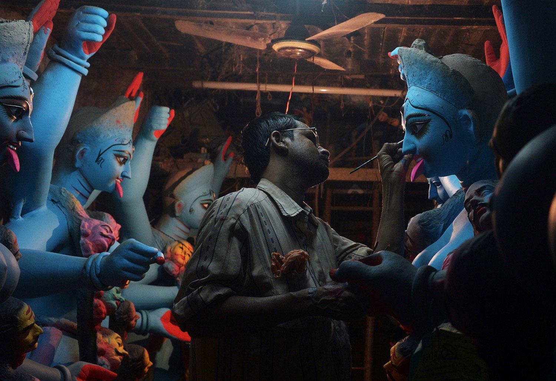 статуя идола богини Кали на Дивали, фото
