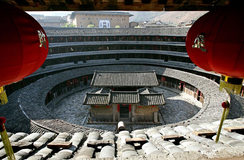 архитектуры земляных китайских зданий, фото