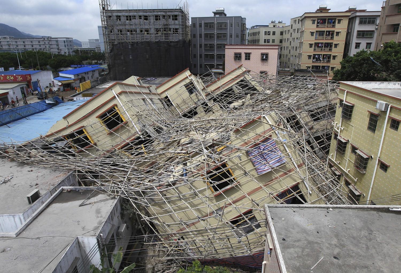 рухнувшее здание в провинции Китая