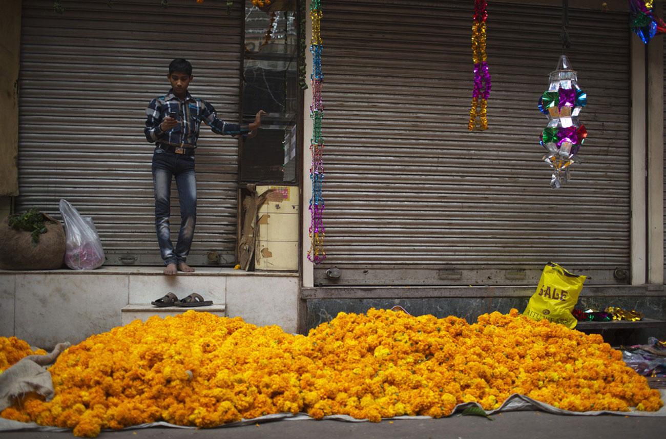 продавец цветов в Нью-Дели