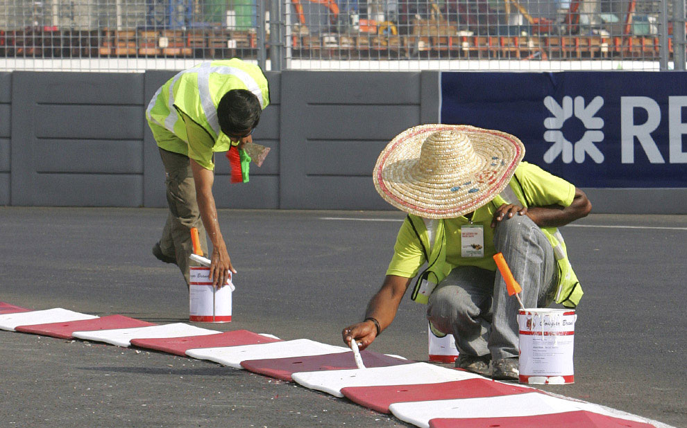 подготовка трассы Марина Бей к заезду в Сингапуре, фото