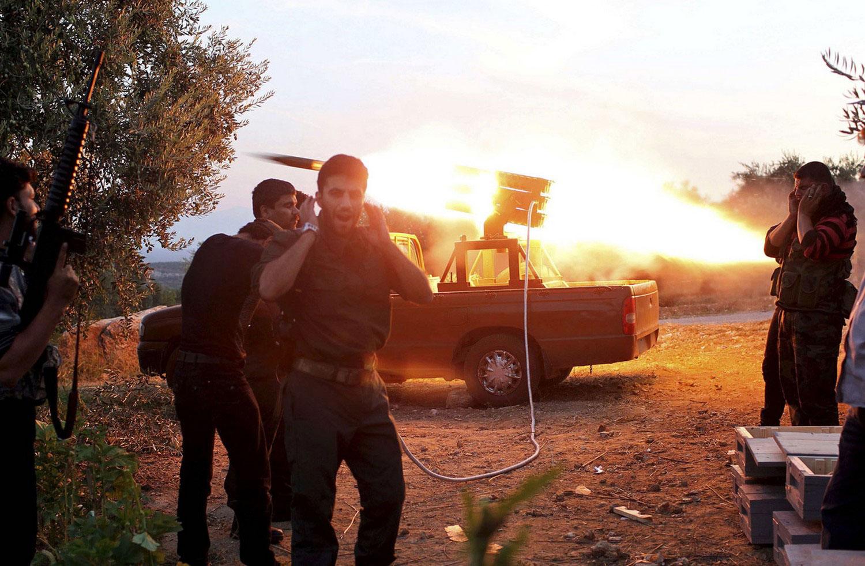 Запуск ракеты в Алеппо, фото