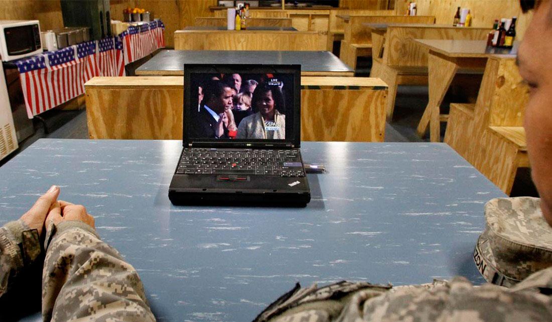 Американские солдаты наблюдают за церемонией вступления в должность Обамы, фото США