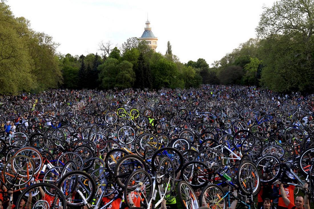 Тысячи велосипедистов