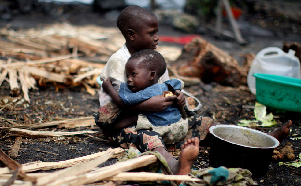 лагерь на окраине города Гома, Конго, фото