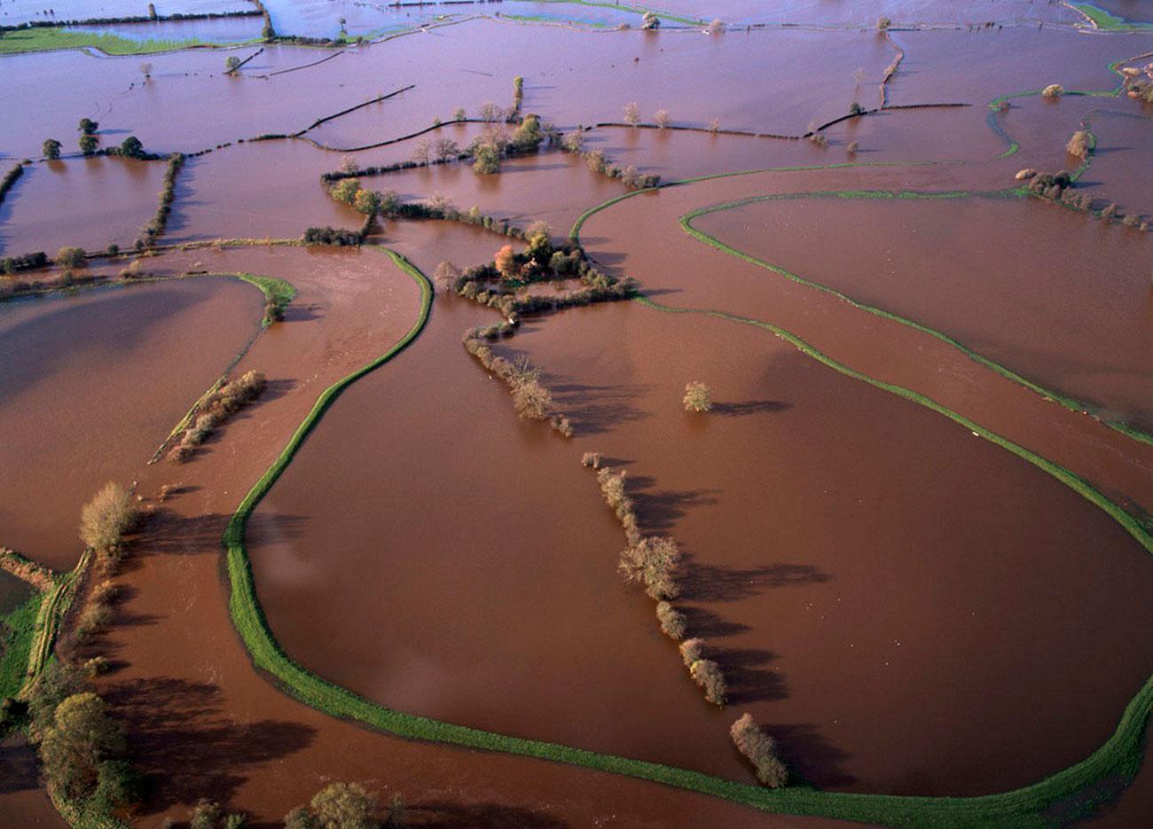 Затопленные поля Англии, пейзаж