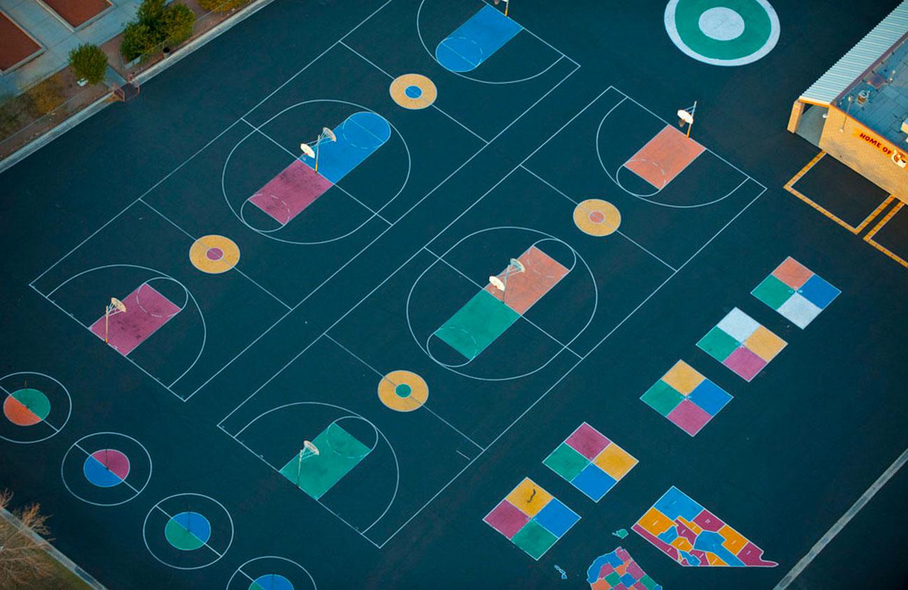 баскетбольные площадки в США, пейзаж