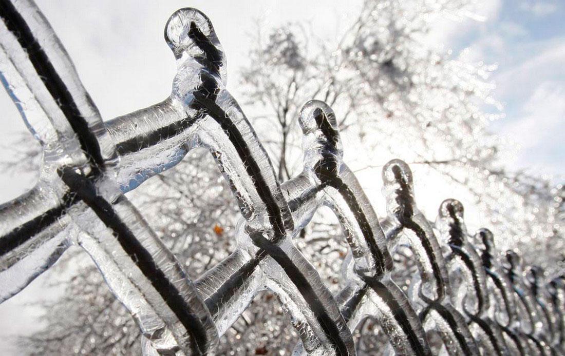 замерзшая рабица, фото