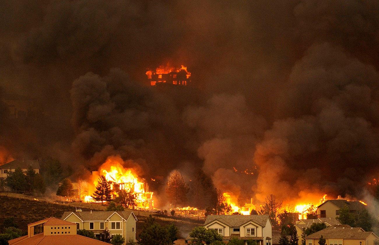 пожар в жилом районе, фото лесных пожаров