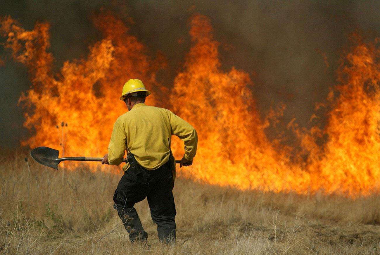 Пожарный борется с огнем, фото лесных пожаров