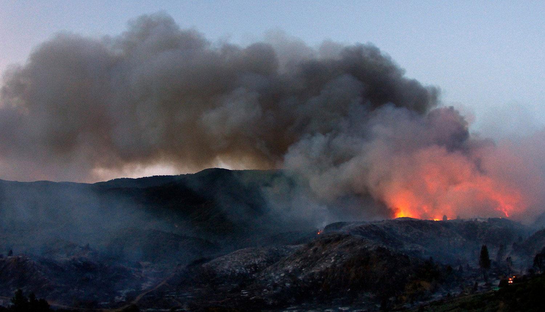 заповедник Лос Падрес в огне, фото лесных пожаров