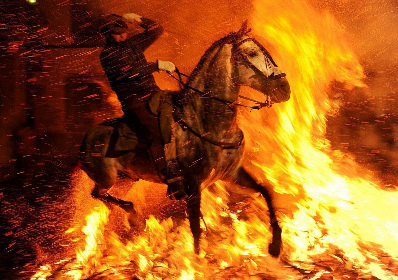 всадник на лошади прыгает через костер