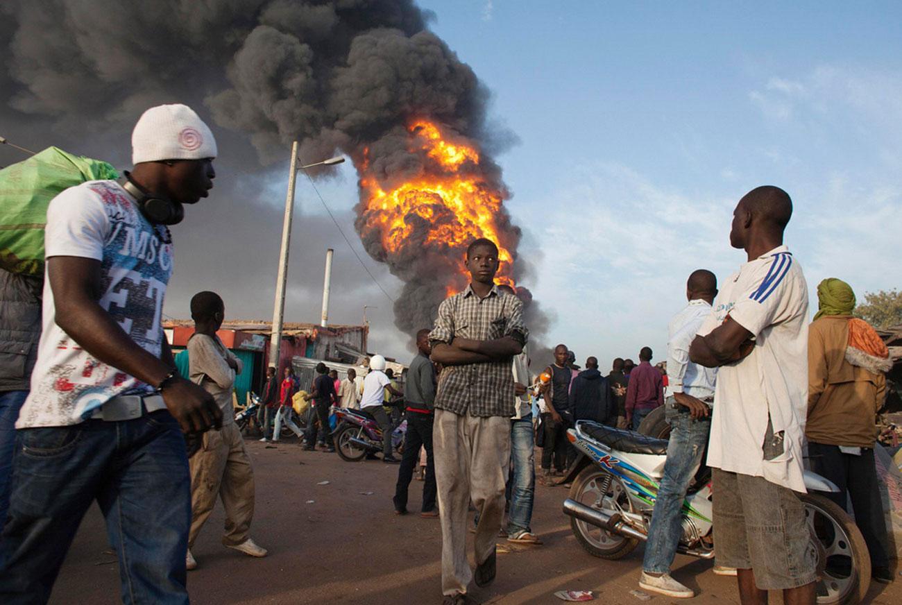 Пожар на рынке, фото Мали