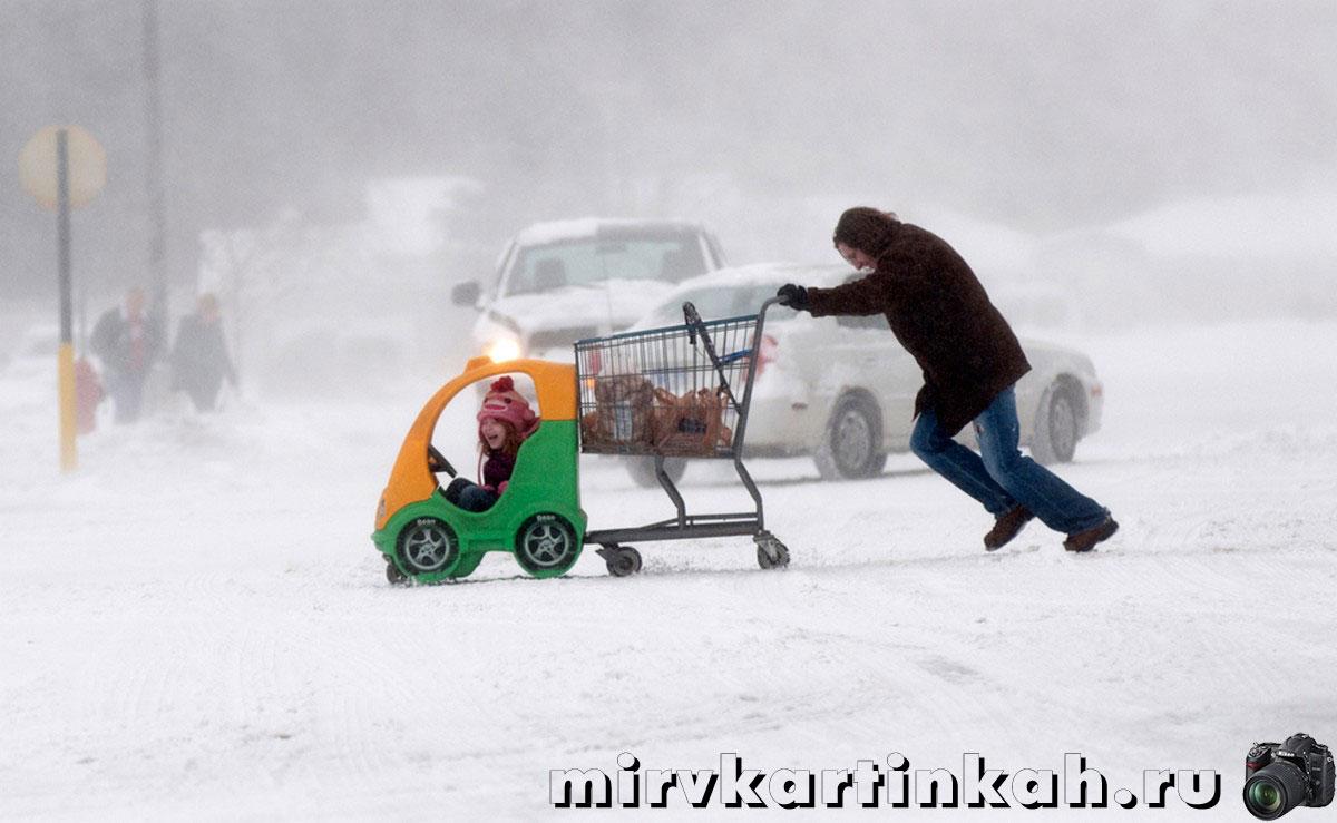Женщина толкает тележку с продуктами