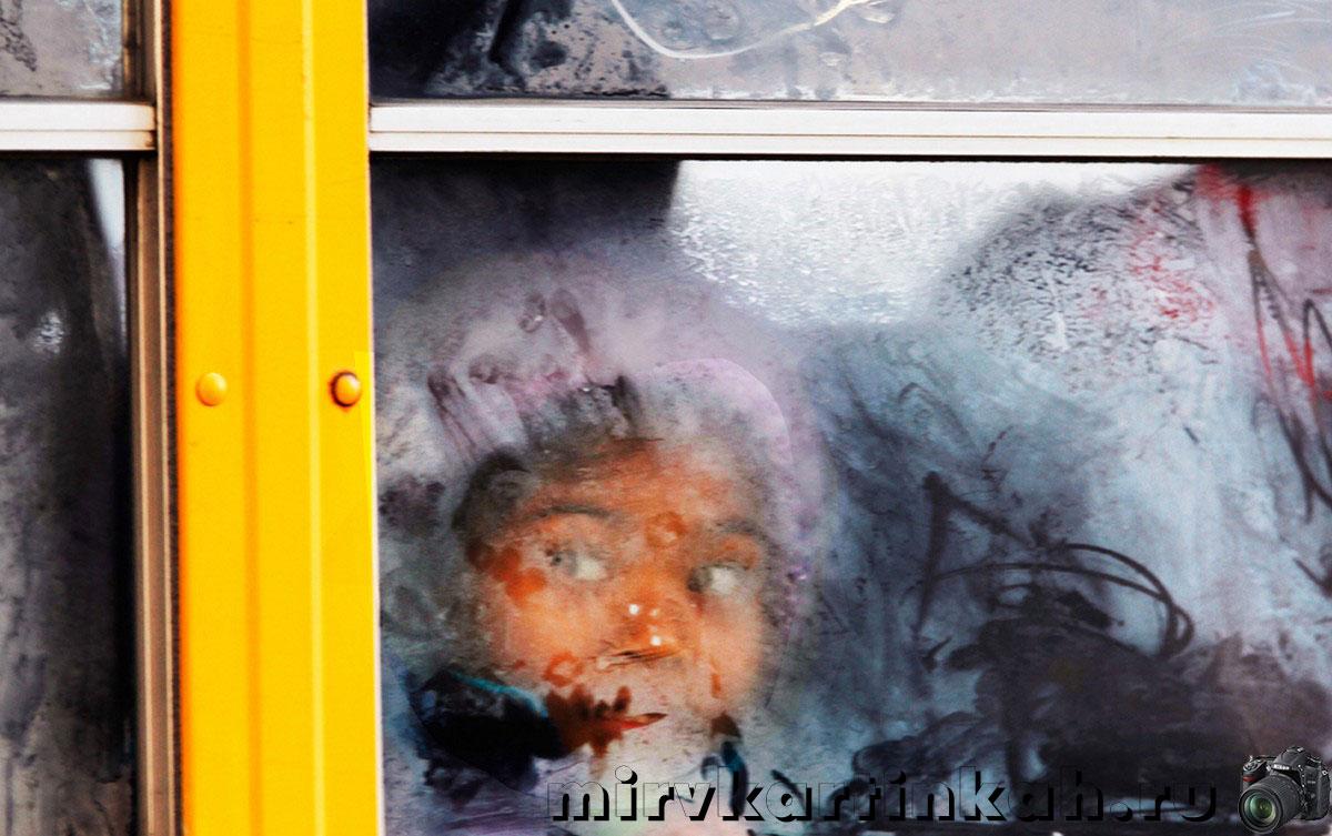 ребенок в холодном автобусе
