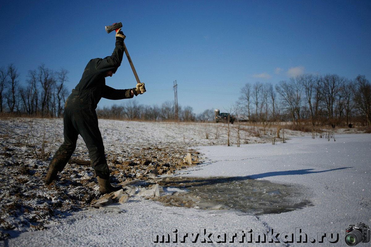 Фермер ломает лед
