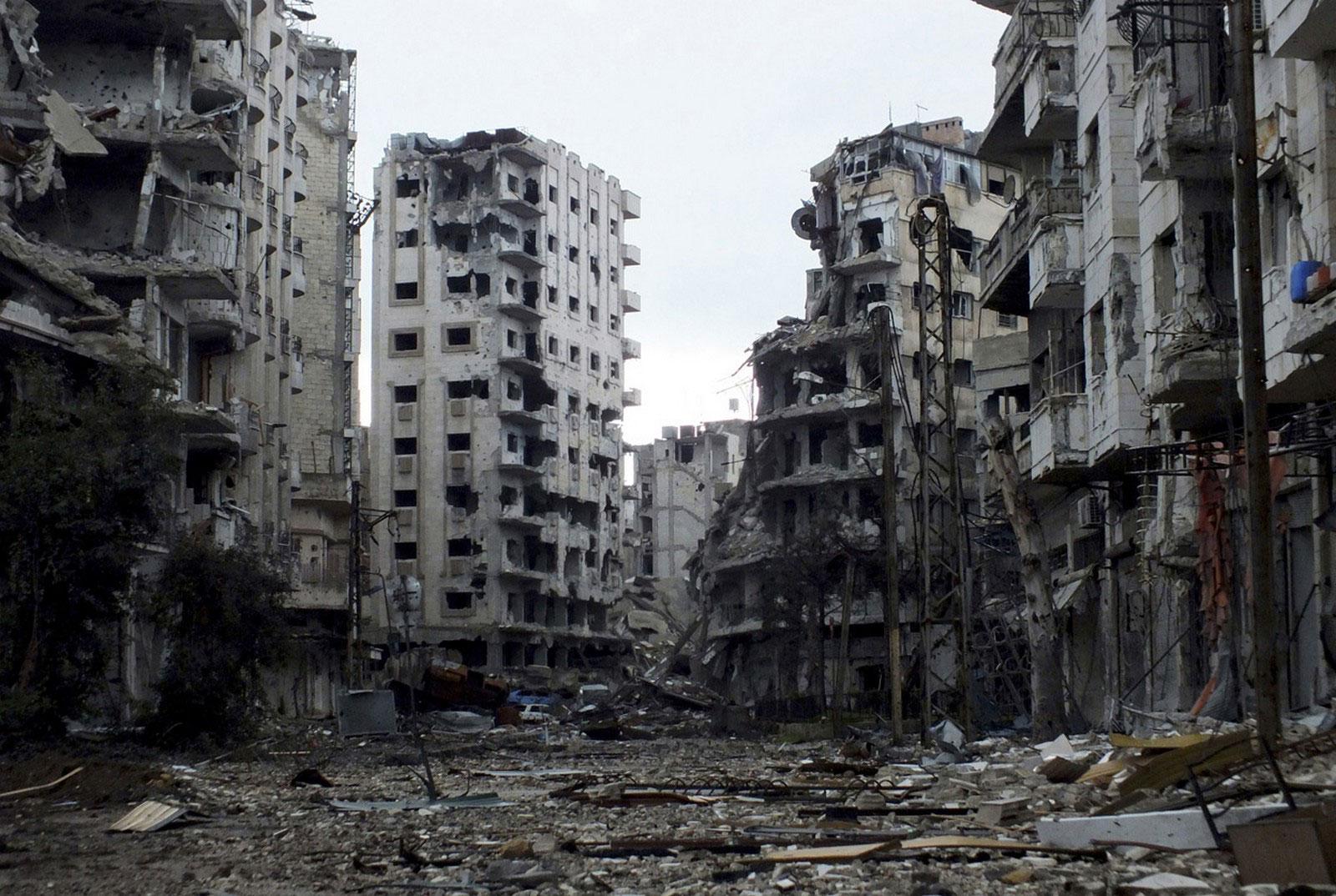 Поврежденные здания Сирии