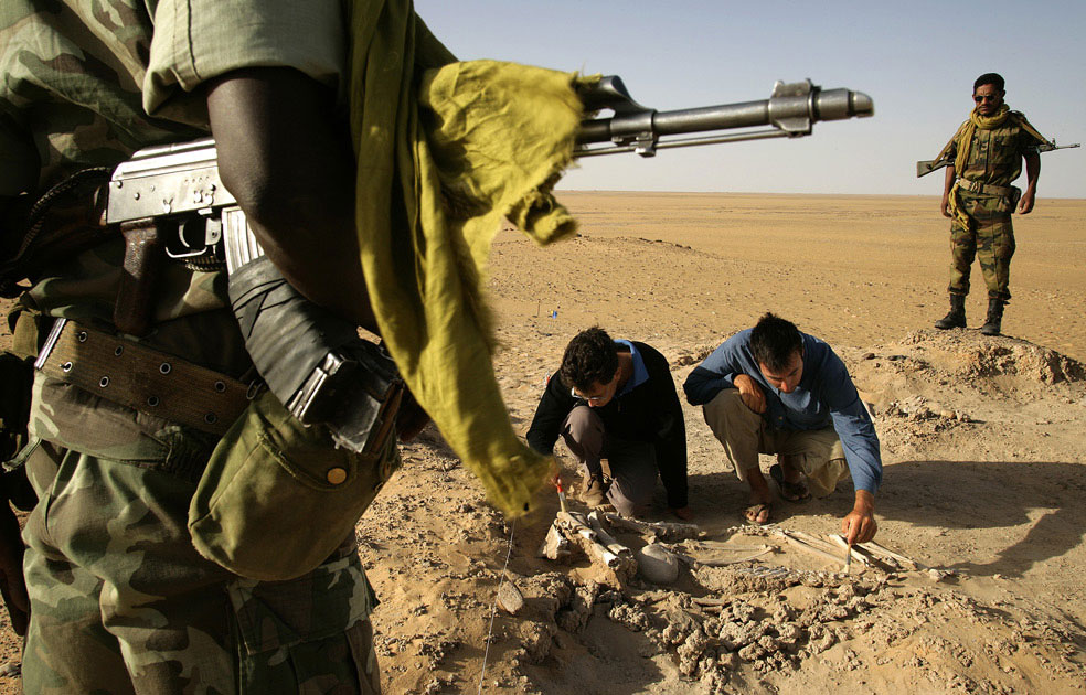 Археологи расчищают скелет человека, фото