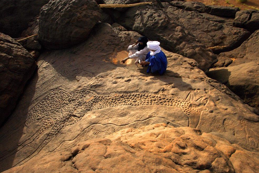 Выбитое в камне изображение жирафа в пустыне, фото