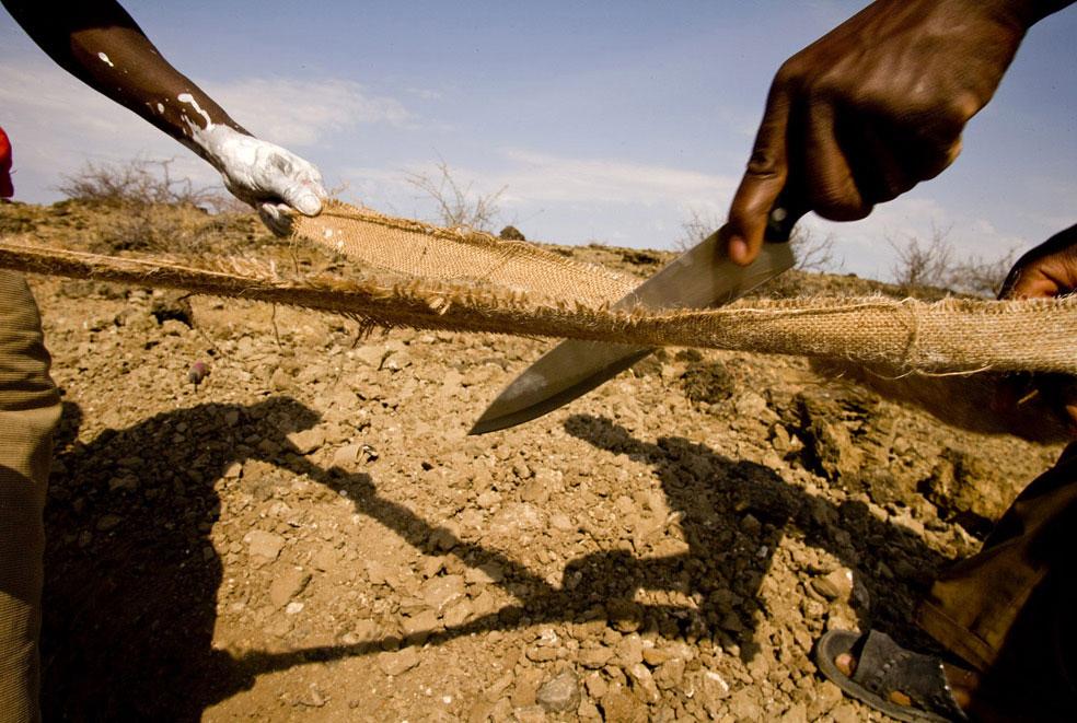 археологи режут на полосы мешковину, фото