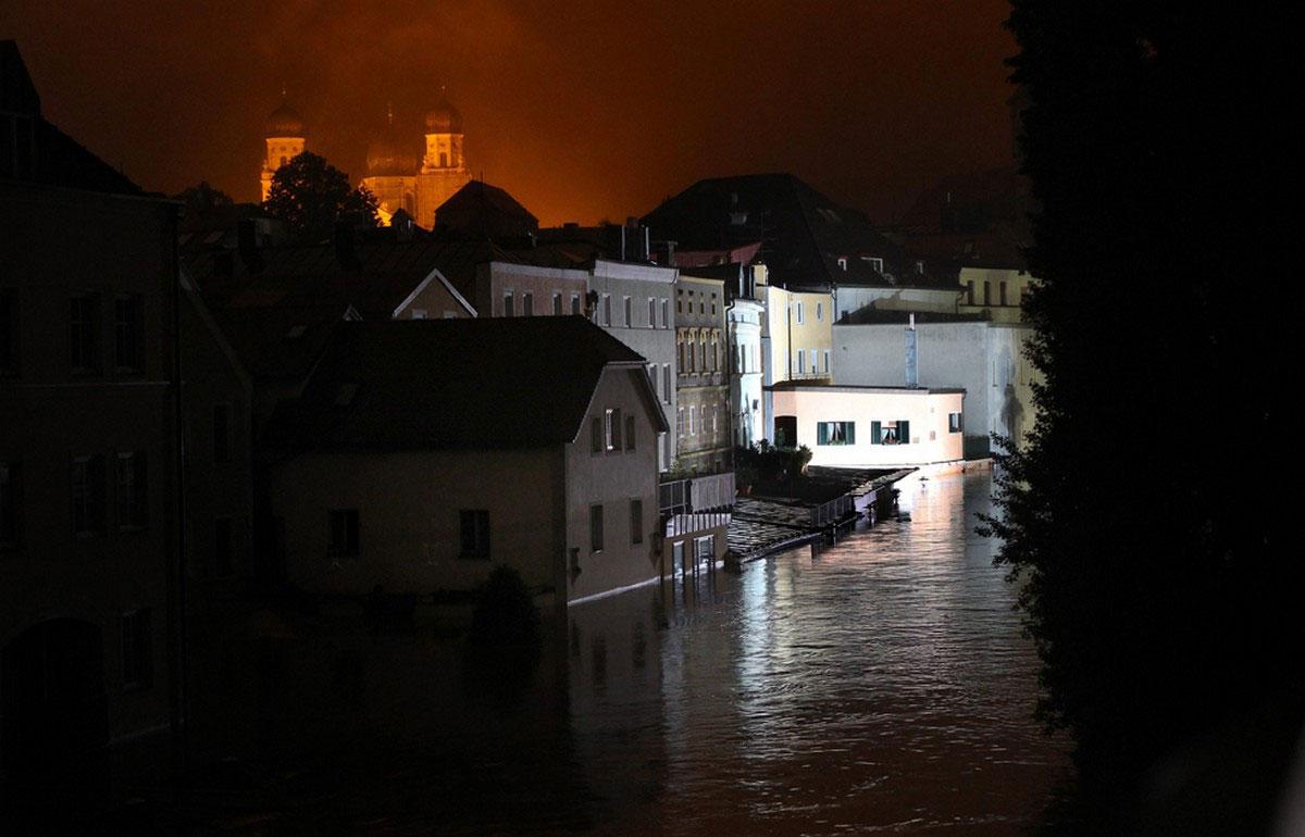 Паводковые воды в городе Пассау
