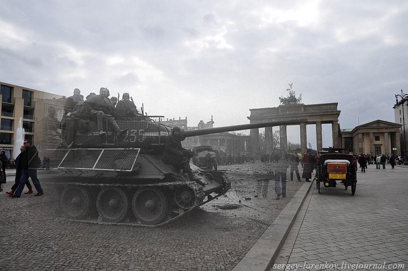 Танк с бойцами у Бранденбургских ворот