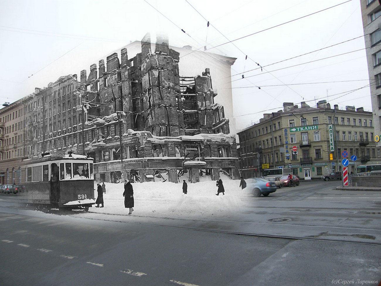 разрушенные здания в Ленинграде