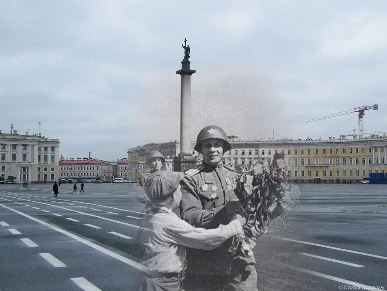 мальчик дарит цветы участнику войны