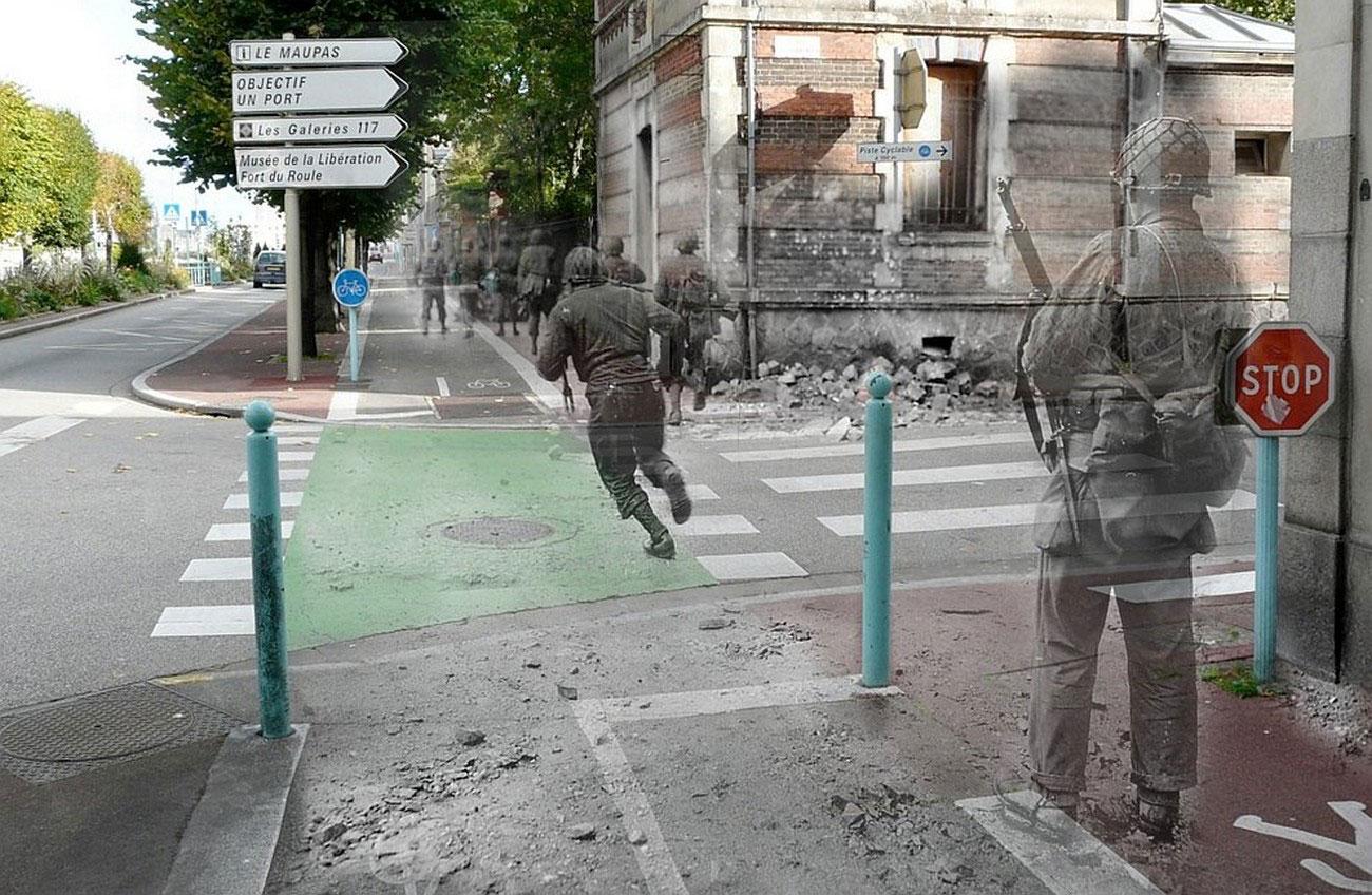 Солдаты перебегают дорогу