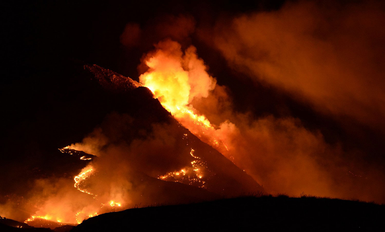 возгорание на холмах