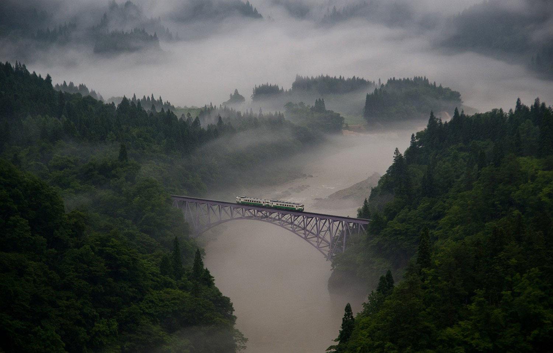поезд на мосту