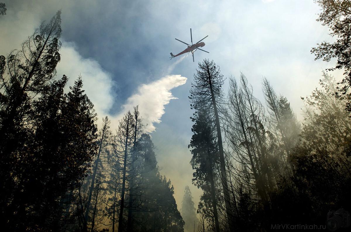 Вертолет сбрасывает воду