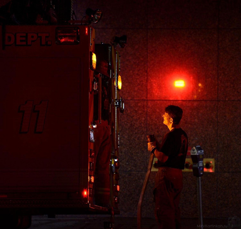 Пожарный укладывает шланг