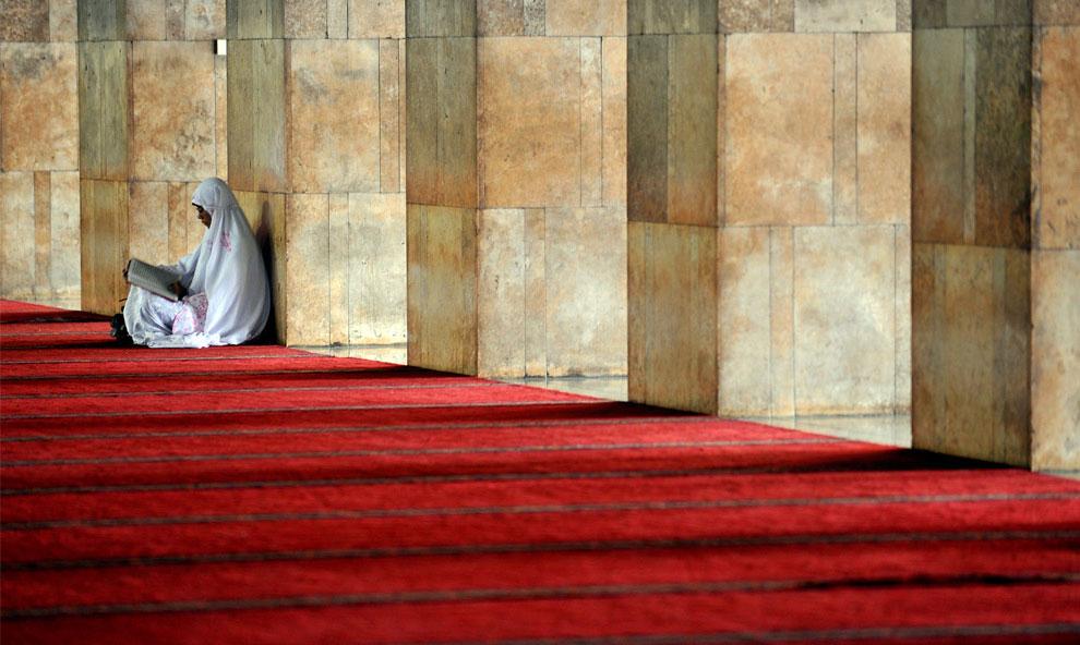 Мусульманка читает копию Корана, фото