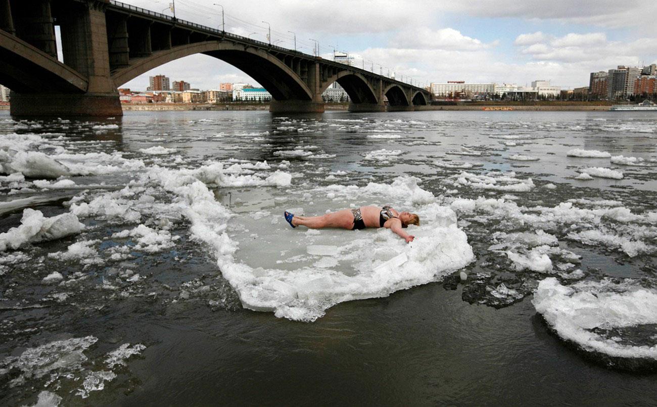 во время весеннего таяния льдов, фото с Енисея