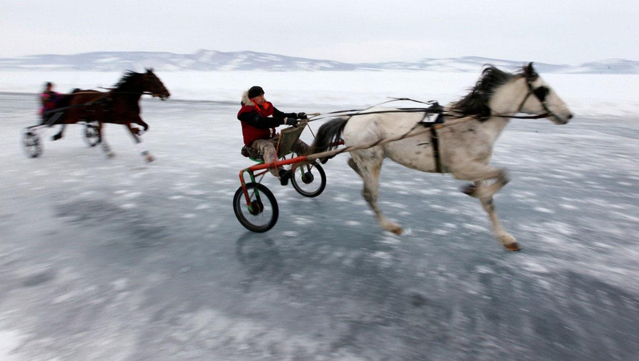 гонки по замерзшей Енисей, фото