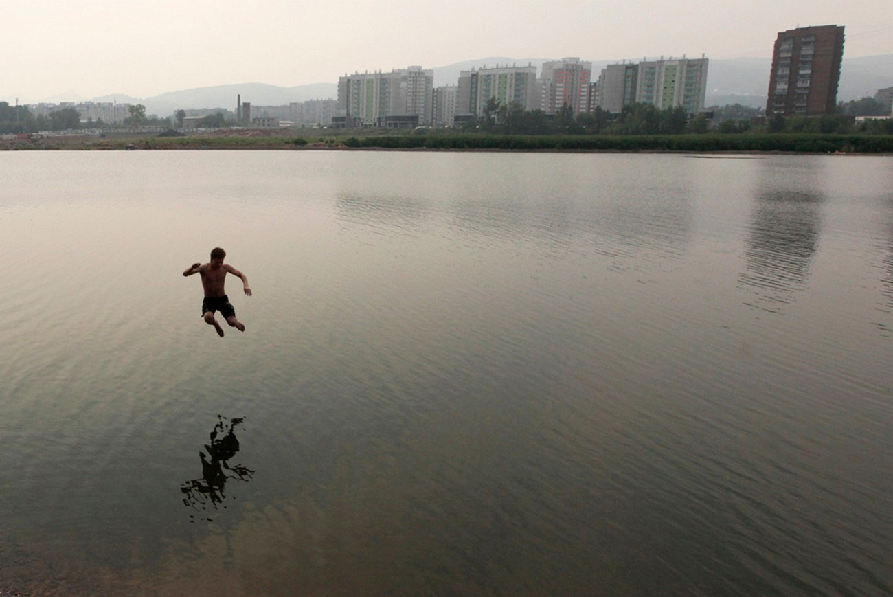 ныряние в реку Енисей
