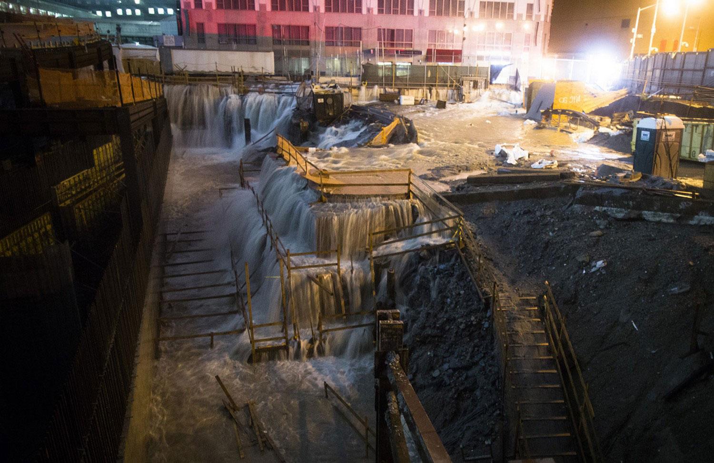 наводнение на строительной площадке от урагана Sandy, фото
