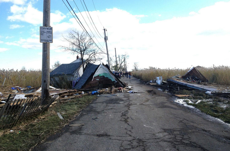Разрушенные дома, фото урагана Сэнди