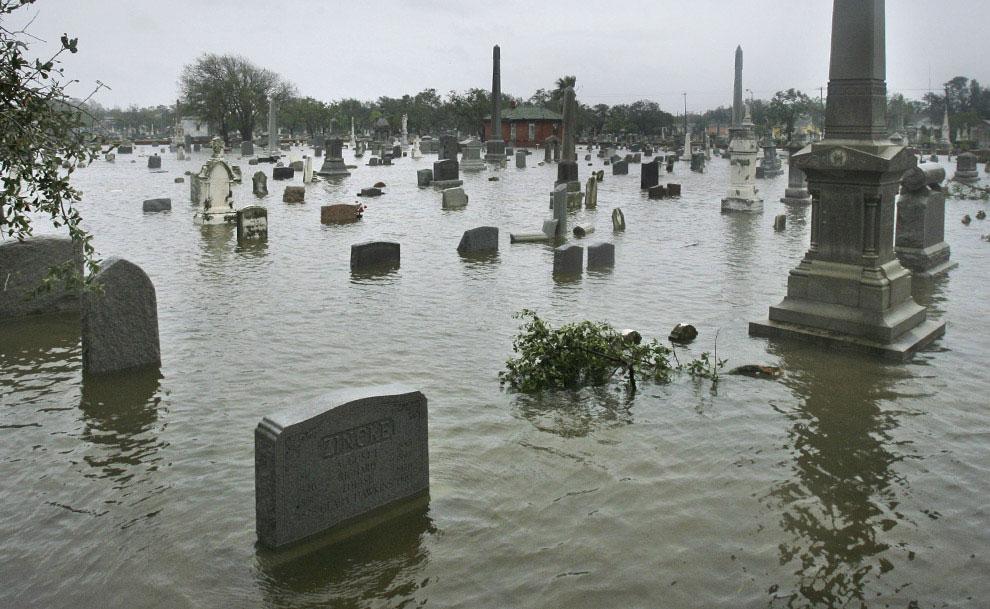 затопленное кладбище в Галвестоне, США, фото