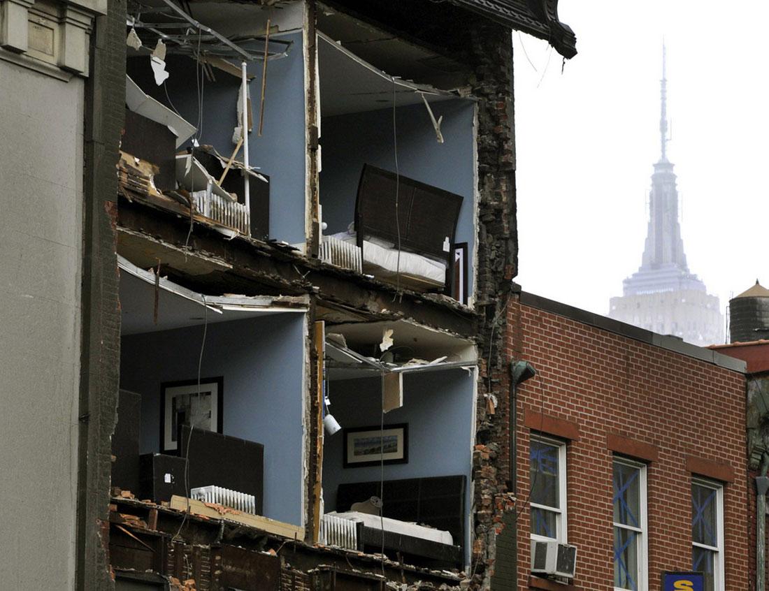 разрушенное здание, фото стихийного бедствия в Нью-Йорке