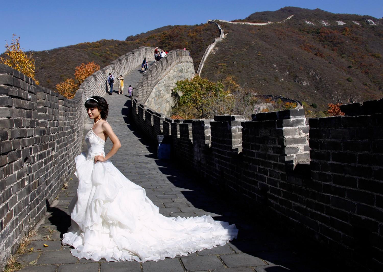 невеста на китайской стене, фото