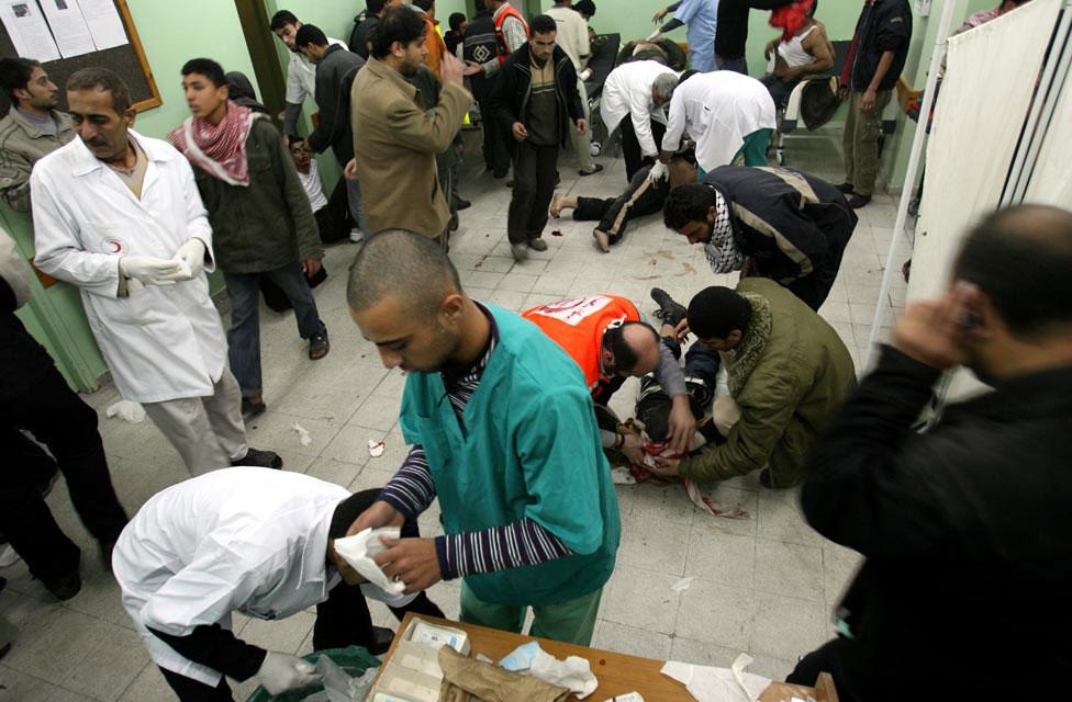 Раненые палестинцы в больнице, фото