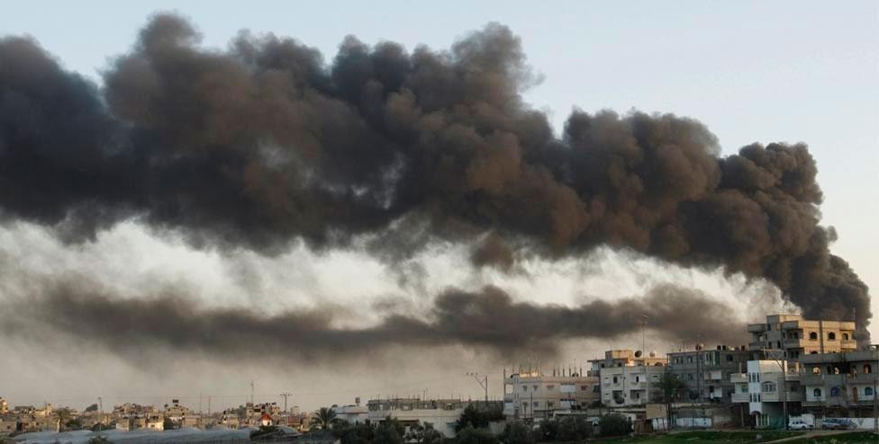дым в Газа, фото