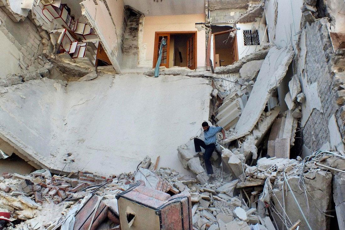 разрушенные дома в Хомсе, фото, Сирия