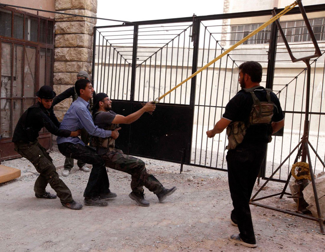 самодельная бомба с катапульты, фото, Сирия